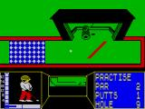 Mini-Putt ZX Spectrum Log. The log swings and you must get the ball past it into the hole.