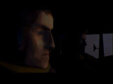 Another War Windows Intro shot; a close up of the protagonist and the truck driver.