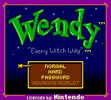 Wendy: Every Witch Way Game Boy Color Title Screen
