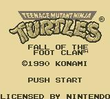 Teenage Mutant Ninja Turtles:  Fall of the Foot Clan Game Boy Title Screen