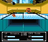 "Crash 'N the Boys: Street Challenge NES ""Swimming"" challenge... actually, your goal is to strangle your opponent underwater"