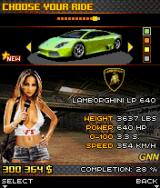 Asphalt 3: Street Rules J2ME Car select screen, this is the last but one car to gather.