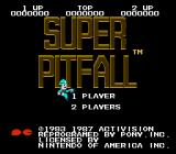 Super Pitfall NES Title screen/main menu
