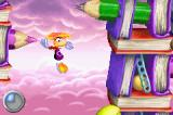 Rayman Raving Rabbids Game Boy Advance The Blue Lums allow you to fly freely for a short time.