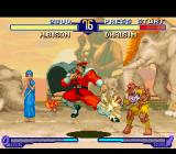 "Street Fighter Alpha 2 SNES Dhalsim attacks with his Yoga Fire, but M. Bison was sufficiently fast to ""counter-attackick"" him!!!"
