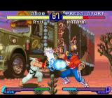 Street Fighter Alpha 2 SNES Through his projectile-based move Hadou Ken, Ryu is about to stop Katana's (Sodom's) Jigoku Scrape.