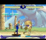 Street Fighter Alpha 2 SNES Through her taunt move, Chun-Li causes a bit of damage in Sagat. But this is just the beginning...