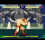 Street Fighter Alpha 2 SNES Nash (Charlie) caught by Zangief's closing move Kamitsuki: he wasn't ready for some bloody bites...