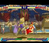 Street Fighter Alpha 2 SNES Ken Masters tries to hit-attack Sagat, but he's suddenly stopped by his knee-based move Tiger Crush.
