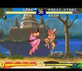 "Street Fighter Alpha 2 SNES Now, Adon jumps back to escape from Dan Hibiki's next ""attack"": an inoffensive Kuuchuu Chouhatsu..."