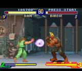 Street Fighter Alpha 2 SNES Birdie's move fails: then, it's time to Dan Hibiki counterattack him with his Shin Kuu Gadou Ken!