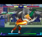 Street Fighter Alpha 2 SNES Trying to use a bit of accuracy, Charlie jumps to escape (or try to escape) from Sagat's Tiger Shot.
