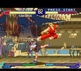 Street Fighter Alpha 2 SNES Sakura Kasugano and Ken Masters executing their kick moves at the same time: who will be overcome?