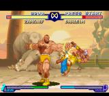 Street Fighter Alpha 2 SNES Dhalsim damaged by a spinning-punch hit: and Zangief executes successfully his Double Lariat move!