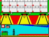 Tenpin Challenge ZX Spectrum Setting up a shot - notice the spin meter rotating