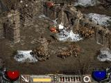 Diablo II: Lord of Destruction Windows Battling monsters near the ruins of destroyed castles and fortifications.