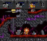 Norse by Norse West: The Return of the Lost Vikings SNES Olaf using his shield to avoid the fire.