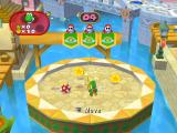 Mario Party 7 GameCube Yoshi collects coins in a bonus game.