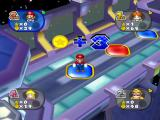Mario Party 7 GameCube Earn three coins for landing on a blue space (or lose three for landing on a red space).
