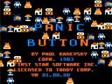 Panic Button TRS-80 CoCo Intro screen - all the shapes flying around are the products you have to construct