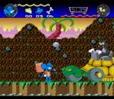 The Itchy & Scratchy Game SNES A boss fight, Scratchy has gotten a giant turtle