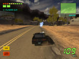 Knight Rider 2: The Game Windows KITT fires some plasma shots at the building.