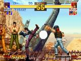 The King of Fighters '95 PlayStation Iori Yagami will try to hit-stop Ralf Jones' Vulcan Punch move only using some kickin' offensive...