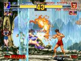 The King of Fighters '95 PlayStation Match paused when Joe Higashi's move Bakuretsu Ken stopped Mai Shiranui's move Flying Dragon Blast.
