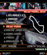 Asphalt: Urban GT 2 J2ME Track selection screen