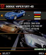 Asphalt: Urban GT 2 J2ME Car selection screen - you can also define the car colour.