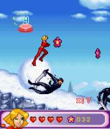 Totally Spies!: The Mobile Game J2ME While running on top of a snowball, keep pressing left or right to remain in the centre. (large screen)