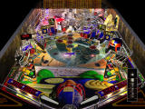 Judge Dredd Pinball DOS Main pinball table with ball launcher overlaid