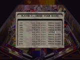 Judge Dredd Pinball DOS High score board with 7-character input limit