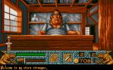 Barbarian II Atari ST The shopkeeper is a big fat slob.