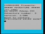 Secret Mission VIC-20 Title Screen. The game starts by asking if you want to restore a saved game.