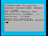 Adventureland VIC-20 Title Screen asking if you want to restore a saved game.