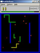 Rattler Race Windows 3.x On a higher difficulty level, the playfield is strewn with opposing snakes and balls, as well as the apples you aim to eat.