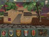 "Might and Magic VIII: Day of the Destroyer Windows Dagger Wound Island has a tropical feel, with ""tribal"" elements in the architecture"