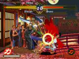 The Last Blade PlayStation Shikyoh takes advantage of Amano's open guard and attacks with his chest-bloody move Weasel's Slash.