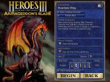 Heroes of Might and Magic III: Armageddon's Blade Windows Scenario selection screen