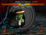 The Last Blade PlayStation Shikyoh fails in his counterattack: then, he's wrapped by Zantetsu's vanishing move Tenma Otoshi...