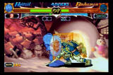 Night Warriors: Darkstalkers' Revenge SEGA Saturn Huitzel vs. Bishaman, the robot uses his force field to block
