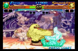 Night Warriors: Darkstalkers' Revenge SEGA Saturn Sasquatch body slams Pyron, a energy creature