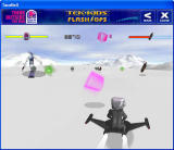 Tek-Kids Flash-Ops: Mission: Polar Challenge Windows Gameplay screen showcasing pink weapons and skiing robots
