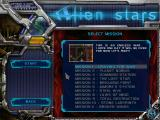 Alien Stars Windows Mission selection screen