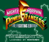 Mighty Morphin Power Rangers: The Fighting Edition SNES Title screen.