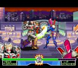 Mighty Morphin Power Rangers: The Fighting Edition SNES Mega Tigerzord attacks Lipsyncher using an upper-based punch, but she blocks his offensive on time.