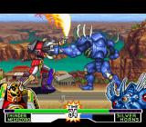 Mighty Morphin Power Rangers: The Fighting Edition SNES Thunder Megazord trying a sword attack against Silver Horns: the monster strikes back using a punch.