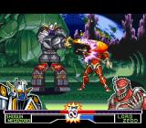 Mighty Morphin Power Rangers: The Fighting Edition SNES Shogun Megazord hit-connecting a spinning-sword hit in Lord Zedd through his move Sword Cyclone.