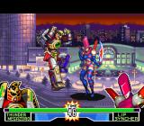 Mighty Morphin Power Rangers: The Fighting Edition SNES Lipsyncher was about to be hit-damaged by Thunder Megazord's Dive Kick, but he misses the distance.